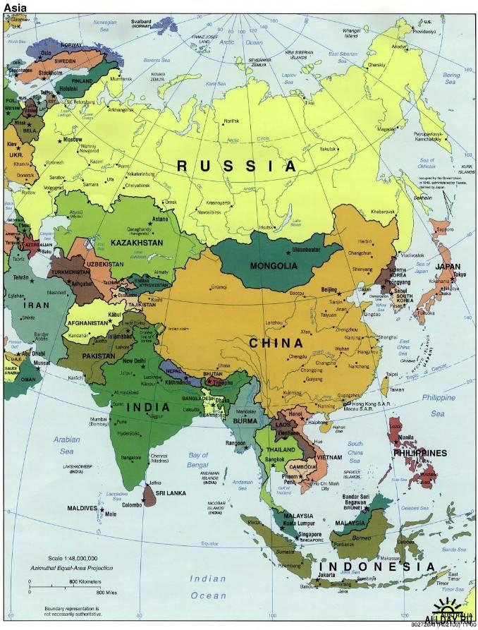 Политическая карта азии 129 кб